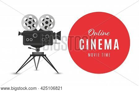 Online Cinema Poster Or Background. Movie Poster. Vector Illustration
