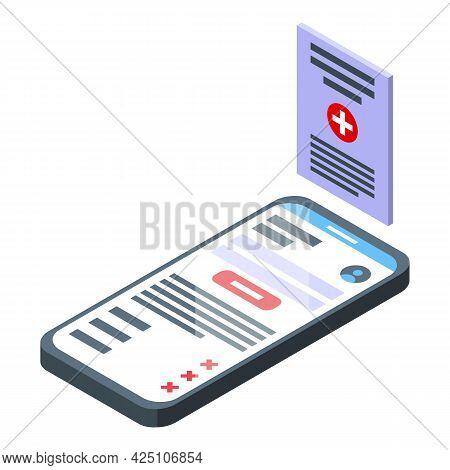 Smartphone Test Result Icon Isometric Vector. Mobile Online Test Result. Digital Medical Prescriptio