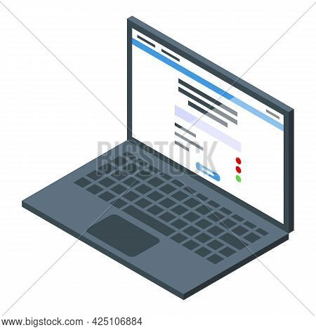 Laptop Test Result Icon Isometric Vector. Computer Online List. Paper Form Test Result