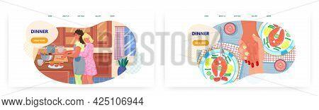 Dinner Landing Page Design, Website Banner Vector Template Set. Happy Daughter Hugging Her Mom Cooki