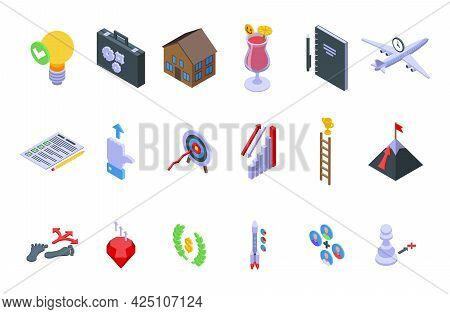 Realization Icons Set Isometric Vector. Dream Self Victory. Success Leader Forward