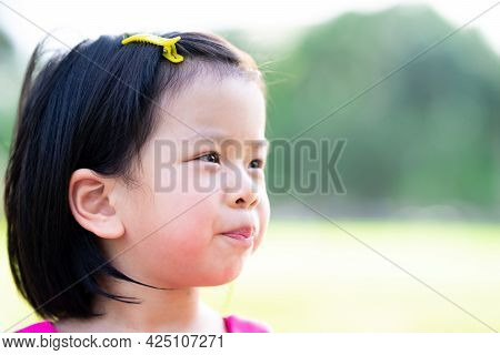 Head Shot. Happy Face Of Asian Child Girl. Sweet Smiling Kid In The Nature. Children Attach Hairpins