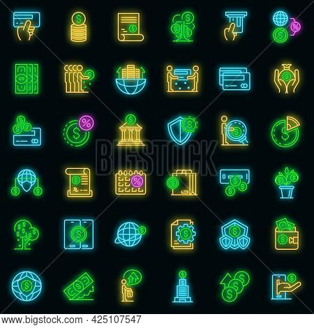 Credit Union Icons Set. Outline Set Of Credit Union Vector Icons Neon Color On Black