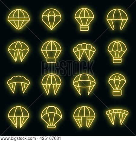 Parachuting Icons Set. Outline Set Of Parachuting Vector Icons Neon Color On Black