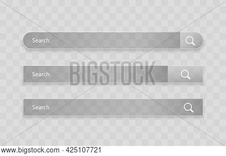 Search Bar Template. Vector Web Search Illustration. Transparent Glass Search Bar.