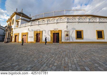 Seville, Spain - 08 April, 2019: The Plaza De Toros De La Real Maestranza De Caballeria De Sevilla I