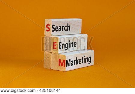 Sem Search Engine Marketing Symbol. Wooden Blocks With Words 'sem Search Engine Marketing' On Beauti