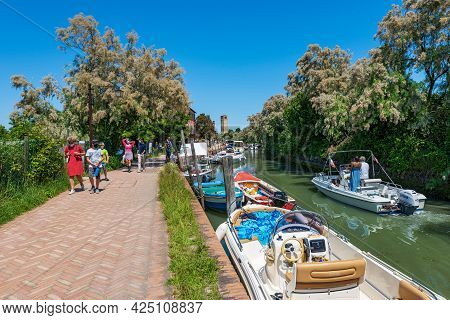 Torcello, Italy - June 2, 2021: Torcello Island In The Venetian Lagoon, In The Center The Bell Tower