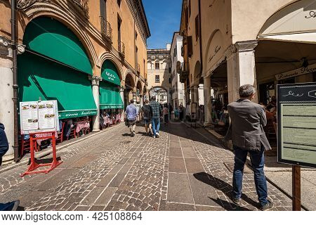 Mantua, Italy - May 9, 2021: Restaurants And Pizzerias In Mantua Downtown, Via Broletto, Lombardy, I