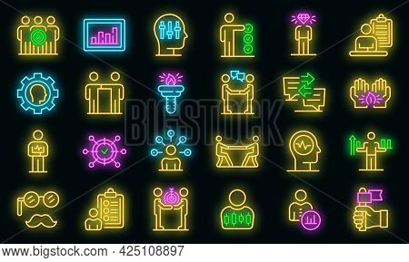 Personal Traits Icons Set. Outline Set Of Personal Traits Vector Icons Neon Color On Black