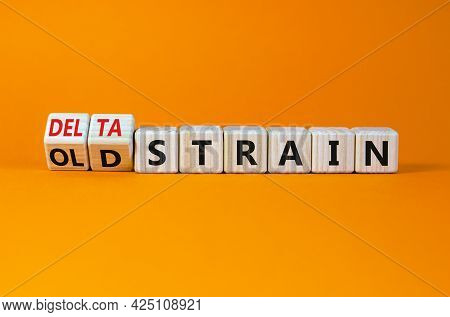 Covid-19 Old Or Delta Strain Symbol. Turned Wooden Cubes And Changed Words Old Strain To Delta Strai