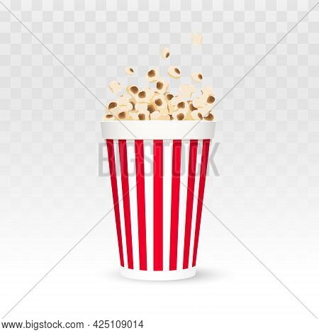 Popcorn Vector Illustration. Popcorn In Red And White Striped Box Isolated On White Background