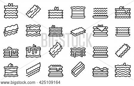 Lasagna Icons Set Outline Vector. Cannelloni Italy Cuisine. Lasagna Dish Culinary