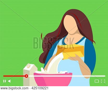 Blogger Making Video Cooking Meal On Online Player. Woman Cook Preparing Food In Kitchen Streaming.