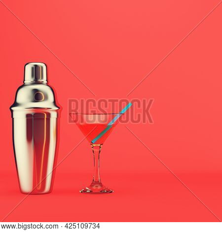 Shaker, And Cocktail With Straw On Red Background. 3d Render