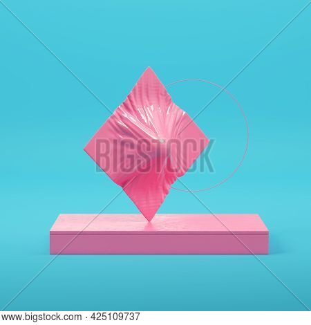 Pink Abstract Geometric Forms On Bright Blue Background In Pastel Colors. Minimalism Concept. 3d Ren