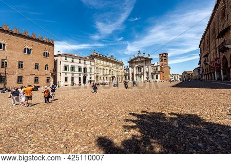 Mantua, Italy - May 9, 2021: Sordello Square (piazza Sordello) With The Saint Peter Cathedral, The B