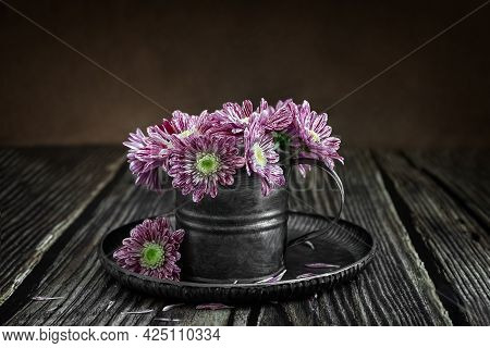 Chrysanthemums In A Metal Vase. Flowers In A Vintage Mug. Postcard. Poster. Still Life. Rustic Style
