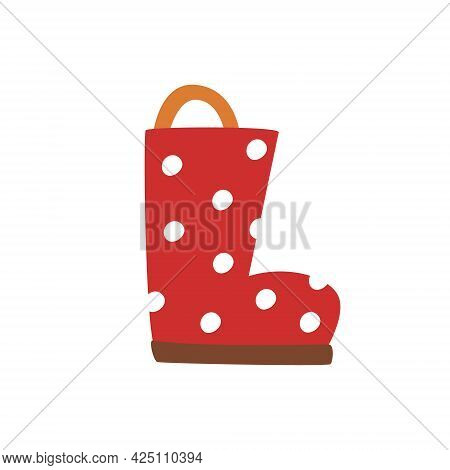 Women's Red Autumn Boots In White Polka Dots. Children's Rubber Bands For Wet And Rainy Weather. Sim