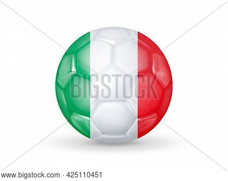 3d Soccer Ball With The Italy National Flag. Italy National Football Team Concept. Isolated On White