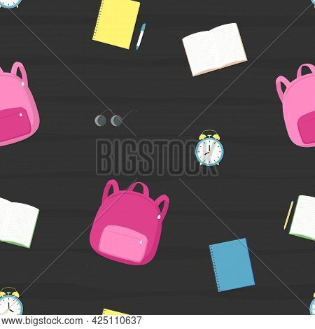 Vector Seamless Pattern With School Satchel, Books, Alarm Clock, Glasses On Black Background. For De