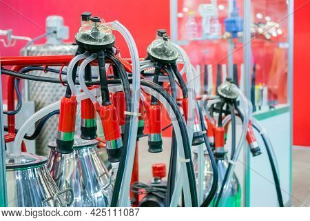 Teat Cups Of Automated Cow Milking Suction Machine At Cattle Dairy Farm, Exhibition, Trade Show. Far