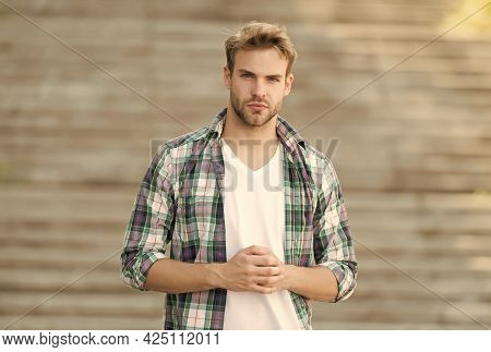 Making Man Look His Best. Young Man. Handsome Man Urban Outdoors. Unshaven Man In Casual Style. Mens