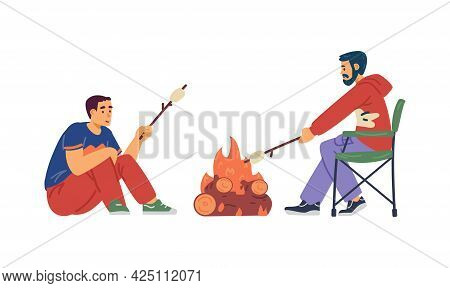 People Roasting Marshmallow At Campfire, Flat Vector Illustration Isolated.