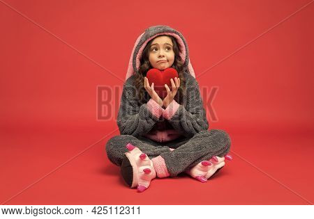 Be Well. Unhappy Child Hold Red Heart. Providing Cardiovascular Care. Pediatric Health Care.
