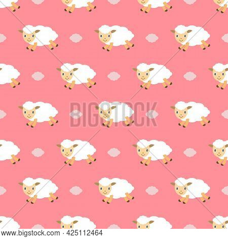 Сute Little Sheep And Clouds Flying Across The Pink Sky. Seamless Repeating Pattern. Vector Illustra