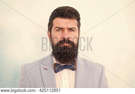 Fashionable Hipster Man Wear Fancy Tuxedo Bow Tie Elegant Gentleman, Wedding Day Concept