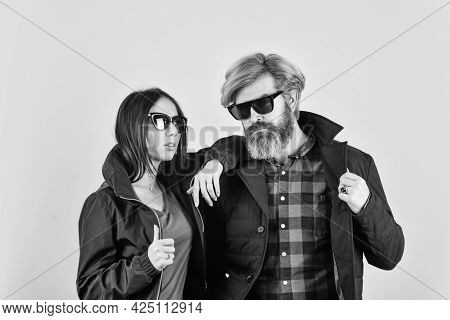 Enjoying Spring Time Together. Street Style. Hipster Couple. Saint Patricks Day. Bearded Man With Dy