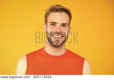 Nice Healthy Smile. Handsome Young Man With Bristle. Happy Man With Groomed Hair. Male Beauty Standa