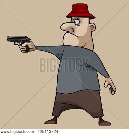 Funny Cartoon Man In Red Hat Standing And Aiming With Pistol