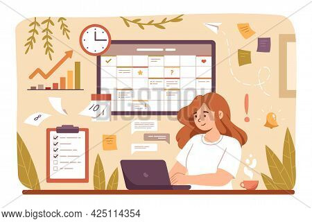 Woman Planning Day, Scheduling Tasks On Laptop In Calendar Application Or Website. Business Woman Ad