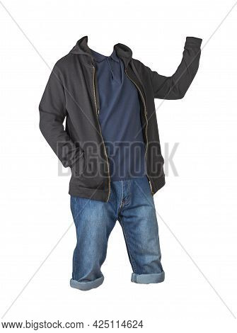 Denim Dark Blue Shorts,dark Blue T-shirt With Collar On Buttons And Black Sweatshirt With Zipper And