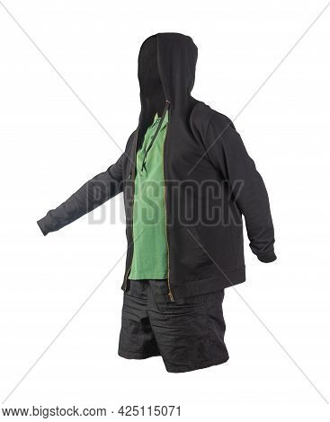Black Sweatshirt With Iron Zipper Hoodie, Dark Green  T-shirt And Black Sports Shorts Isolated On Wh