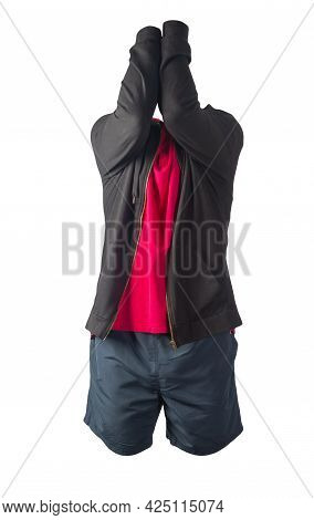 Black Sweatshirt With Iron Zipper Hoodie,red  T-shirt And Dark Blue Sports Shorts Isolated On White