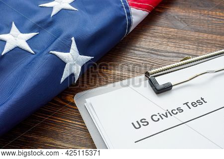 Us Civics Test For Citizenship And Usa Flag.