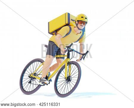 Bicycle delivery courier with parcel backpack. Courier deliveryman riding bike with thermal bag. Man delivering food, orders or parcels on bicycle. 3d illustration. Express delivery concept
