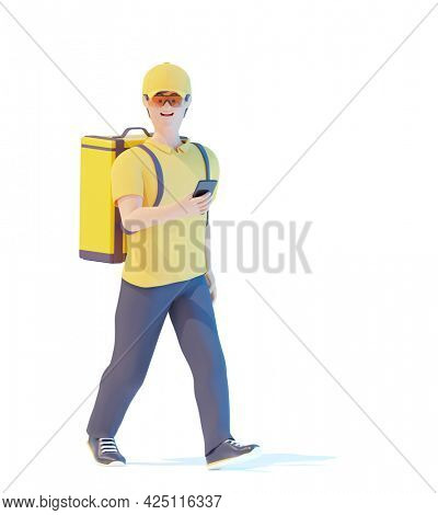 Delivery courier with parcel bag walking on foot with smartphone. Courier deliveryman with thermal bag. Man delivering food checking order online. 3d illustration. Express delivery concept