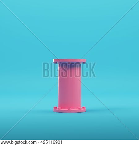 Pink Pipe On Bright Blue Background In Pastel Colors. Minimalism Concept. 3d Render