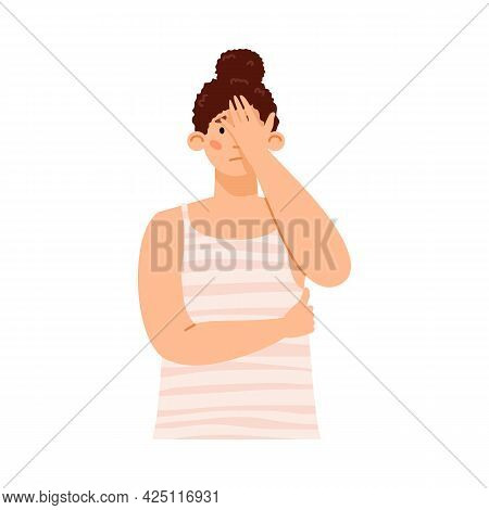 Sad Disappointed Young Woman In Stress Cover Face With Palm A Vector Illustration