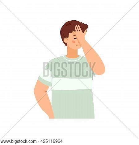Sad Disappointed Young Man Cover Face With Palm In Stress Expression Of Sorrow