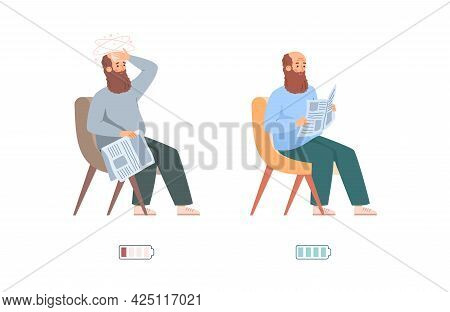 Tired And Rested Man With Indicators Of Energy Flat Vector Illustration Isolated.