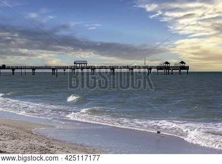 Pier 60 Extending Out Into The Gulf Of Mexico In Clearwater Beach, Florida