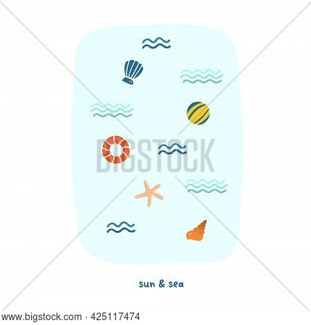 Cute Summer Sea Waves, Shells And Lifebuoy. Cozy Hygge Scandinavian Style Template For Postcard, Gre