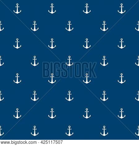 Nautical Seamless Pattern With Anchors On Blue Background. Ship And Boat Steering Wheel Ornament. Ma