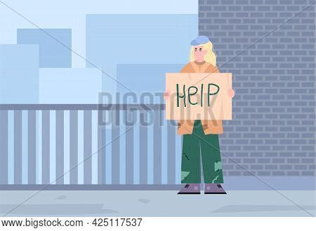 Vector Banner With Poor Homeless Woman Living At City Streets Needy In Help