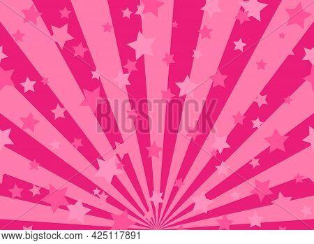 Sunlight Horizontal Background. Pink Color Burst Background With Shining Stars. Vector Illustration.